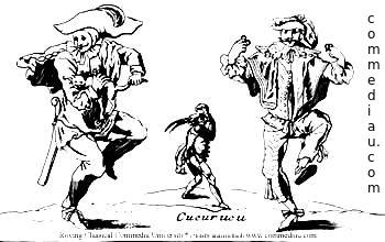 3 dancing Commedia dell'Arte Characters
